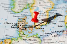 Map Copenhagen in Region